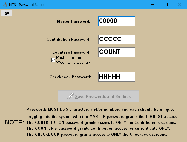 nts faq setup passwords access levels