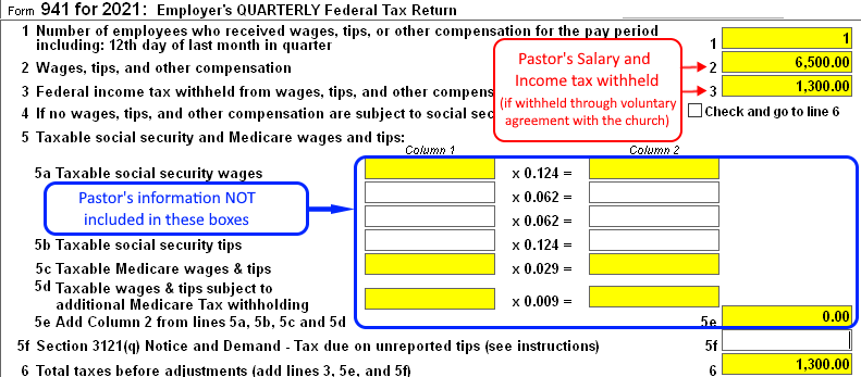 pr_pastor941 Tax Form Example on wages withholdings, annual reconciliation, federal tax return, payment voucher, worksheet monthly,