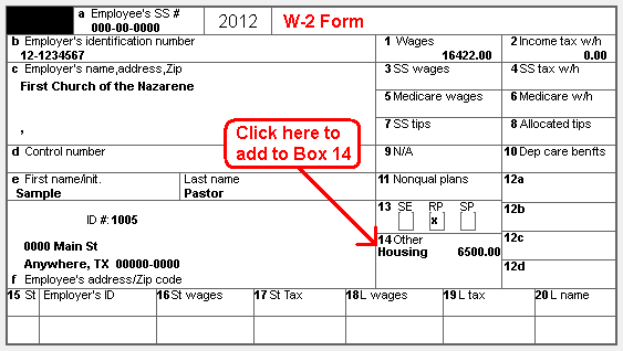 NTS FAQ - Housing Allowance on W-2 Form